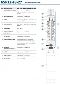 Промышленный скважинный насос Pedrollo 6 SR 27/12-P