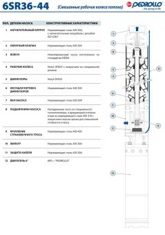 Промышленный скважинный насос Pedrollo 6 SR 44/5-P