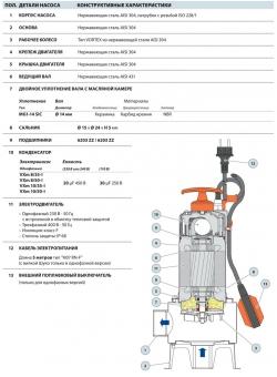 Фекальный насос Pedrollo VXm 8/35-ST каб. 10 м
